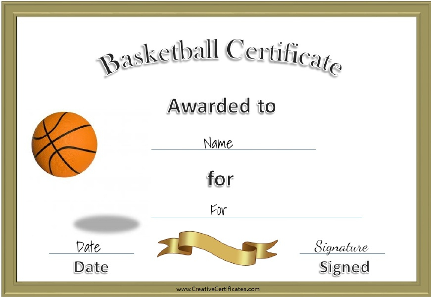 13 Free Sample Basketball Certificate Templates - Printable intended for New Basketball Certificate Template Free 13 Designs