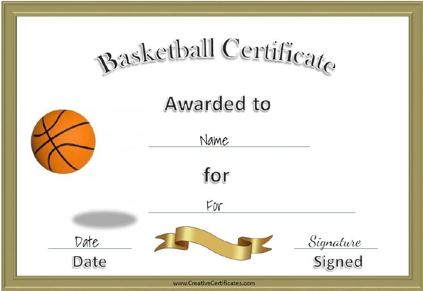13 Free Sample Basketball Certificate Templates - Printable throughout New Basketball Certificate Template