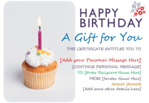 13 Free Sample Birthday Gift Certificate Templates with regard to Unique Happy Birthday Gift Certificate
