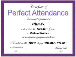 13 Free Sample Perfect Attendance Certificate Templates for Perfect Attendance Certificate Template