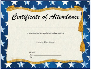 13 Free Sample Perfect Attendance Certificate Templates inside Perfect Attendance Certificate Free Template