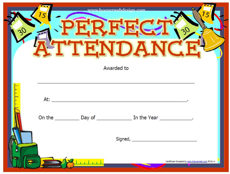 13 Free Sample Perfect Attendance Certificate Templates throughout Perfect Attendance Certificate Free Template