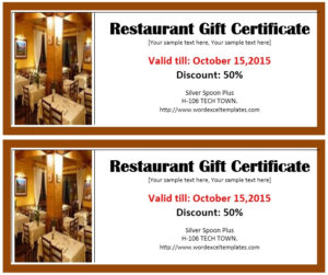 13 Free Sample Restaurant Voucher Templates – Printable Samples pertaining to Quality Restaurant Gift Certificate Template 2018 Best Designs