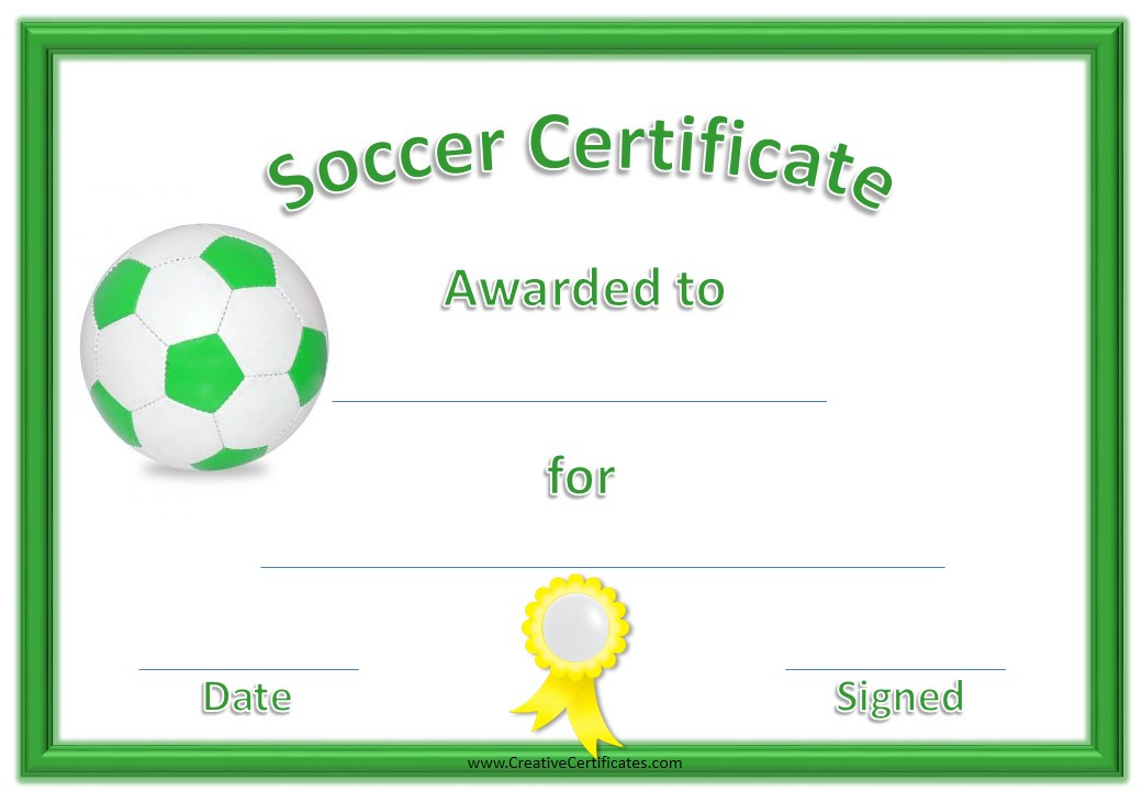 13 Free Sample Soccer Certificate Templates - Printable Samples for Best Soccer Certificate Template Free