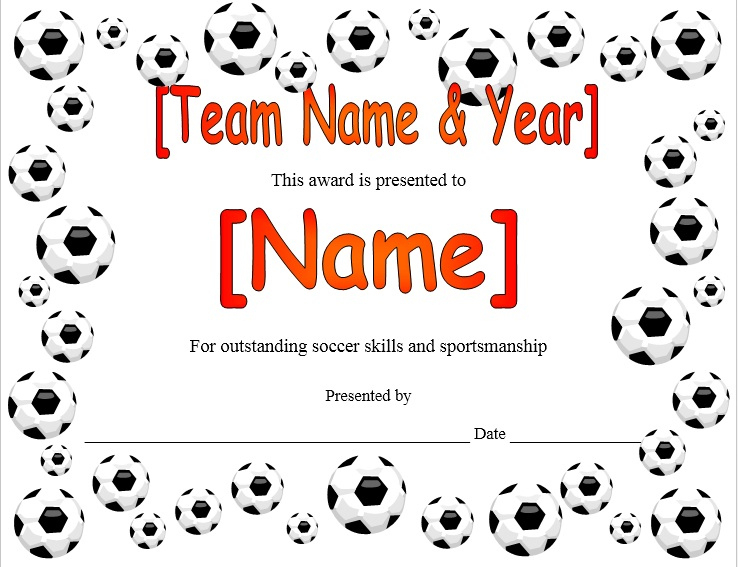 13 Free Sample Soccer Certificate Templates - Printable Samples in Soccer Certificate Templates For Word