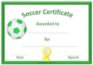 13 Free Sample Soccer Certificate Templates – Printable Samples inside Soccer Certificate Templates For Word