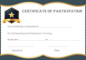 13+ Training Participation Certificate Templates – Free in Unique Free Templates For Certificates Of Participation