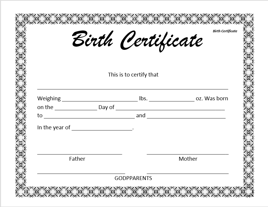 14 Free Birth Certificate Templates In Ms Word & Pdf In Birth Certificate Template For Microsoft Word