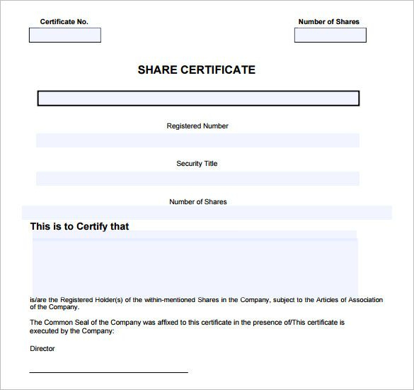 14+ Share Certificate Templates | Free Printable Word & Pdf for Fresh Template For Share Certificate