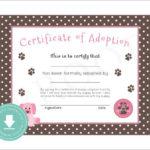 15+ Adoption Certificate Templates | Free Printable Word For Pet Adoption Certificate Editable Templates