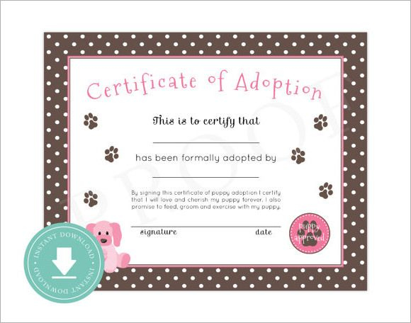 15+ Adoption Certificate Templates   Free Printable Word for Pet Adoption Certificate Editable Templates
