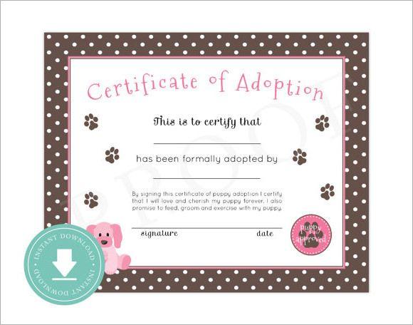 15+ Adoption Certificate Templates   Free Printable Word Regarding Fresh Cat Adoption Certificate Template 9 Designs