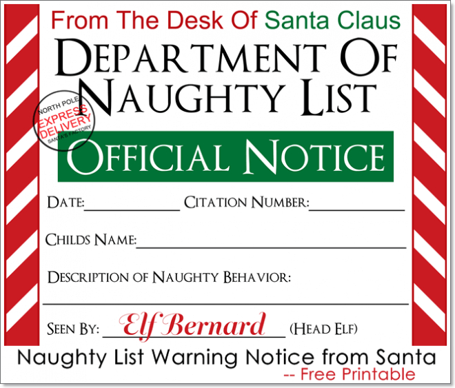 15 Free Printable Letters From Santa Templates - Spaceships for Free 9 Naughty List Certificate Templates