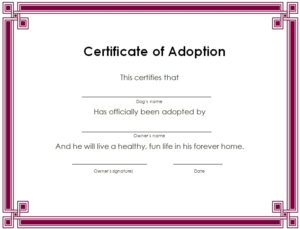 15+ Free Printable Real & Fake Adoption Certificate Templates with regard to Child Adoption Certificate Template Editable