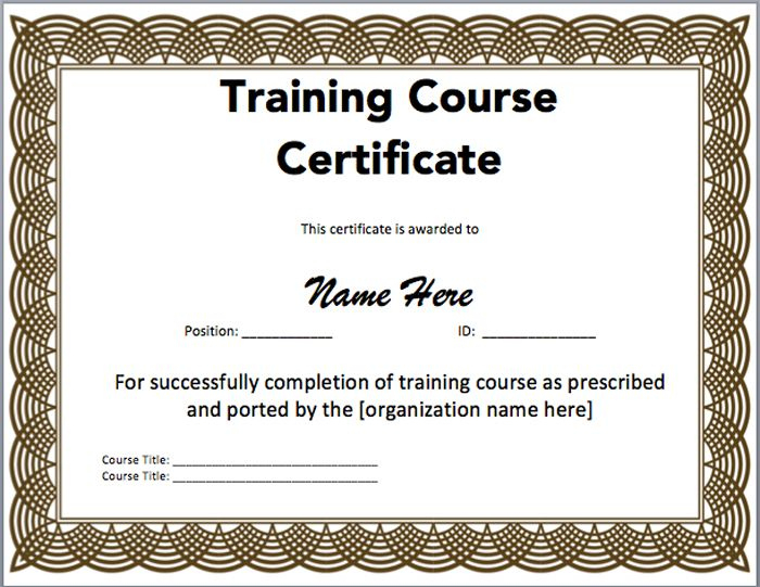 15 Training Certificate Templates - Free Download for Training Course Certificate Templates