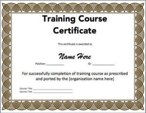15 Training Certificate Templates – Free Download pertaining to Unique Physical Fitness Certificate Template Editable