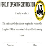 15+Forklift Certification Card Template For Training For Forklift Certification Template