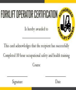 15+Forklift Certification Card Template For Training For Forklift Certification Template