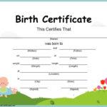 16+ Birth Certificate Templates | Smartcolorlib Intended For Unique Cute Birth Certificate Template