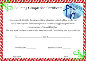 16+ Construction Certificate Of Completion Templates pertaining to Certificate Of Construction Completion Template