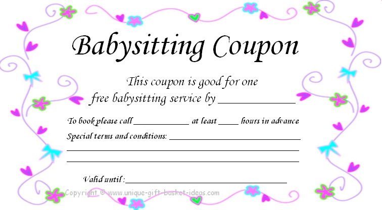 17 Blank Babysitting Card Template Design Images - Printable with regard to Babysitting Gift Certificate Template