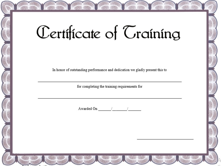 17 Free Training Certificate Templates - Free Word Templates for Quality Training Certificate Template Word Format