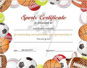 17+ Sports Certificate Templates | Free Printable Word & Pdf regarding New 10 Sportsmanship Certificate Templates Free