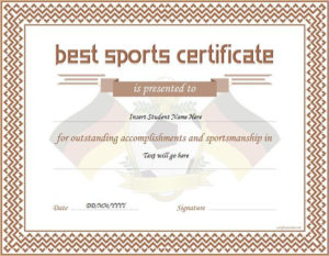 17+ Sports Certificate Templates | Free Printable Word & Pdf throughout New 10 Sportsmanship Certificate Templates Free