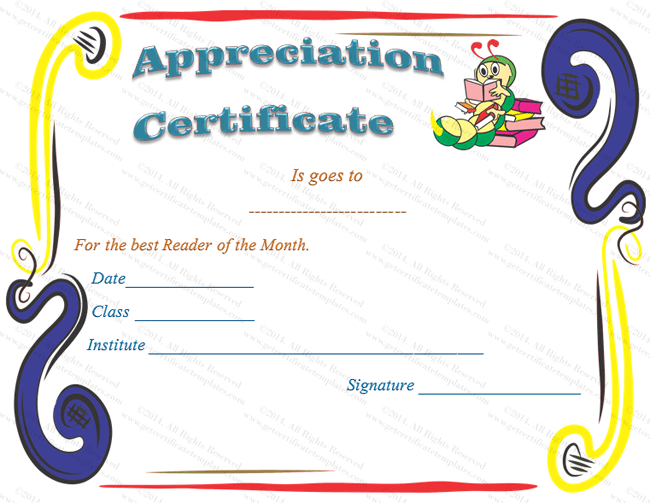 18 Appreciation Certificate Template (School, Certificate Of with Children'S Certificate Template