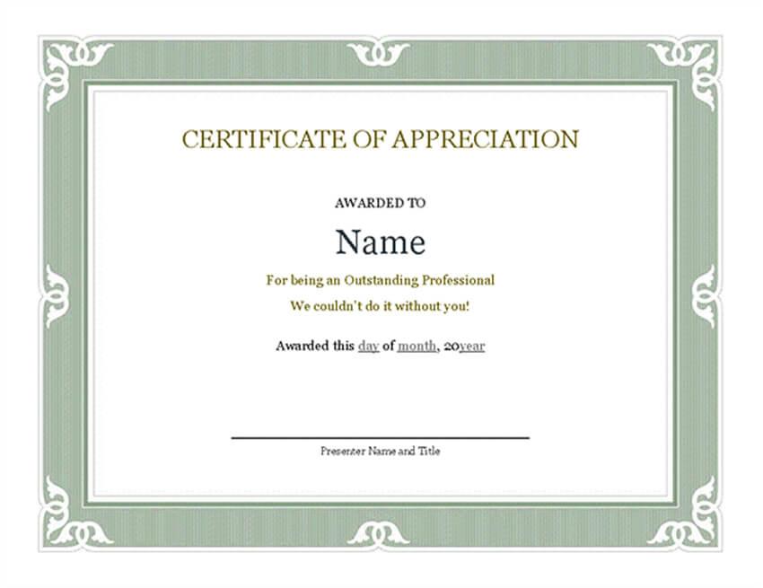18 Best Free Certificate Templates (Printable Editable intended for Employee Certificate Template Free 10 Best Designs