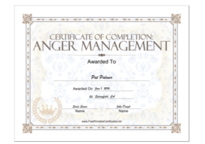 18 Free Certificate Of Completion Templates | Utemplates intended for Anger Management Certificate Template Free