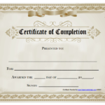 18 Free Certificate Of Completion Templates | Utemplates Pertaining To New Certification Of Completion Template