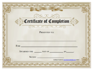 18 Free Certificate Of Completion Templates | Utemplates within Fresh Free Training Completion Certificate Templates
