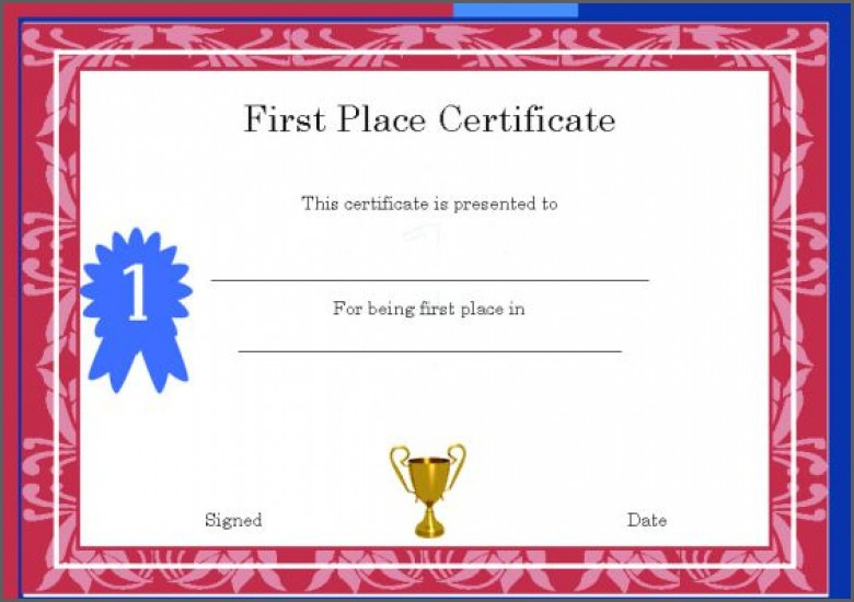 1St 2Nd 3Rd Place Certificate Template Templates First Award for Quality First Place Certificate Template