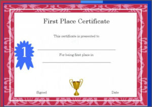 1St 2Nd 3Rd Place Certificate Template Templates First Award throughout Quality First Place Award Certificate Template