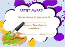 20 Art Certificate Templates (To Reward Immense Talent In in Art Award Certificate Template