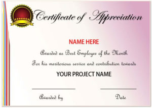 20+ Free Certificates Of Appreciation For Employee Templates with regard to Quality Best Employee Certificate Template
