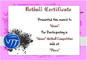 20 Netball Certificates: Very Professional Certificates To throughout Netball Participation Certificate Templates