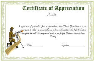 20+ Professional Army Certificate Of Appreciation Templates throughout Army Certificate Of Appreciation Template