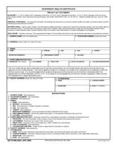 2021 Animal Health Certificate Form – Fillable, Printable with Veterinary Health Certificate Template