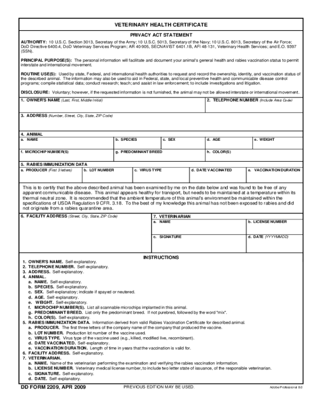 2021 Animal Health Certificate Form - Fillable, Printable with Veterinary Health Certificate Template