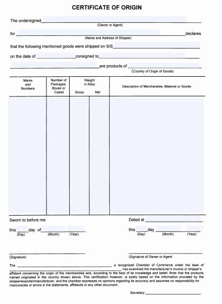 21+ Free 41+ Free Certificate Of Origin Templates - Word inside Certificate Of Origin Template Word