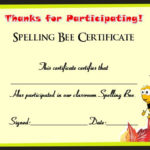 21 Free Printable Spelling Bee Certificates: Participation For Fresh Spelling Bee Award Certificate Template
