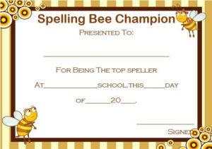 21 Free Printable Spelling Bee Certificates: Participation in Spelling Bee Award Certificate Template