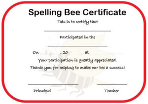 21 Free Printable Spelling Bee Certificates: Participation pertaining to Contest Winner Certificate Template