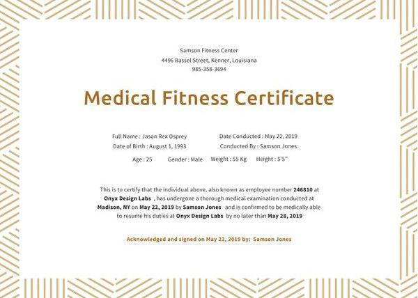 21+ Medical Certificate Templates | Free Word & Pdf regarding Fresh Physical Fitness Certificate Templates