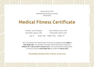 21+ Medical Certificate Templates | Free Word & Pdf throughout Physical Fitness Certificate Template Editable