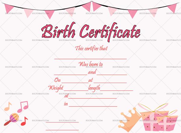 22+ Birth Certificate Templates - Editable & Printable Designs regarding Girl Birth Certificate Template