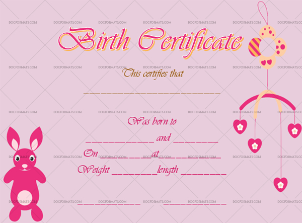 22+ Birth Certificate Templates - Editable & Printable Designs with Fresh Rabbit Birth Certificate Template Free 2019 Designs