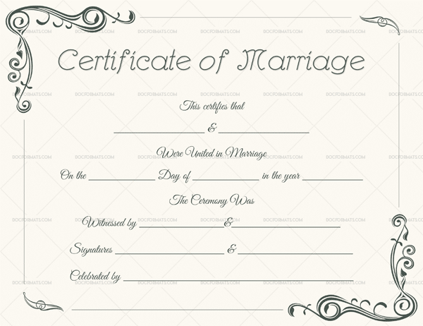 22+ Editable Marriage Certificate Templates (Word And Pdf Inside Marriage Certificate Template Word 10 Designs
